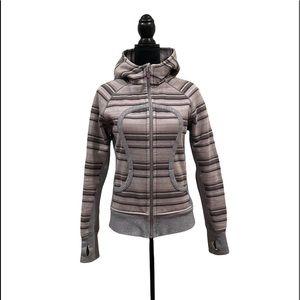 Lululemon scuba hoodie striped poncho pattern zipper front jacket size 8